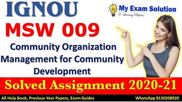 MSW 009 Solved Assignment 2020-21, IGNOU Solved Assignment 2020-21, MSW 009