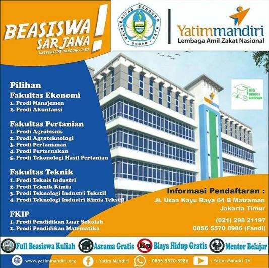 Beasiswa Sarjana Anak Yatim SMA Sederajat Se-Indonesia Univ. Bandung Raya 2018