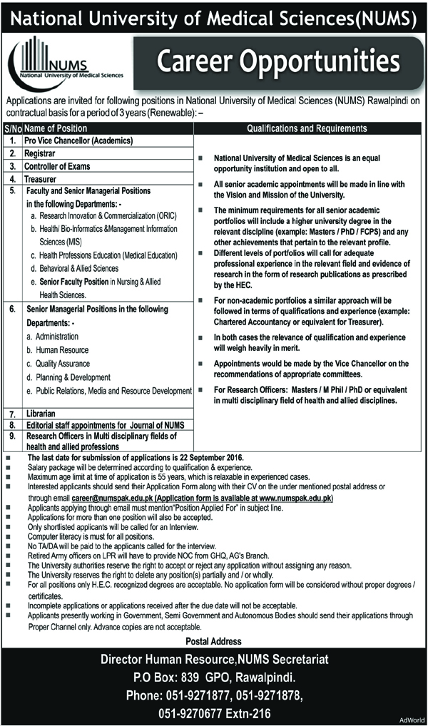 Doctors National University of Medical Sciences Jobs in Pakistan