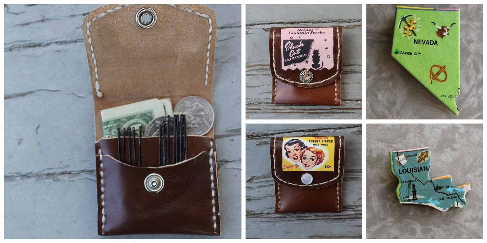 hair pin wallets and vintage states puzzle brooch from wacky tuna vintage on etsy