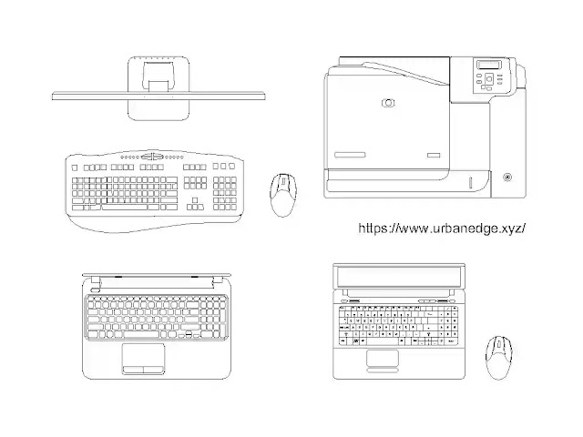 Laptop and peripheral device cad blocks download, 5+ Office computer equipment