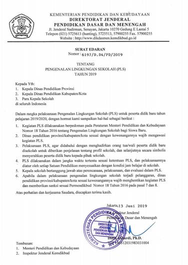 Surat Edaran, Pedoman, Dan Materi Pengenalan Lingkungan Sekolah 2019/2020