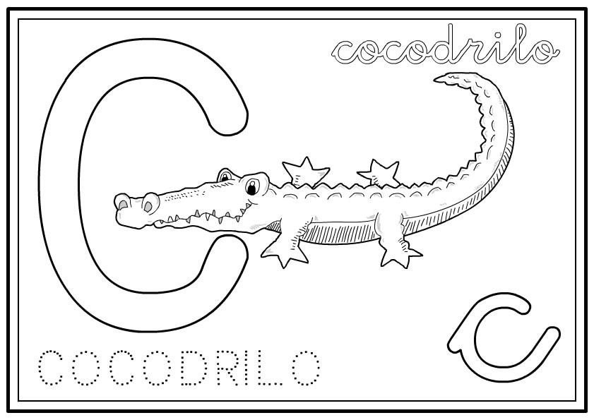 Vistoso Dibujos Para Colorear Alfabeto Animales Patrón - Dibujos ...
