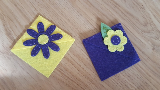 Purple and yellow mini corner bookmarks