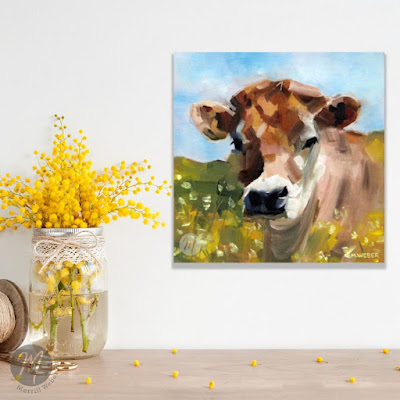 Buttercup the cow oil painting by Merrill Weber