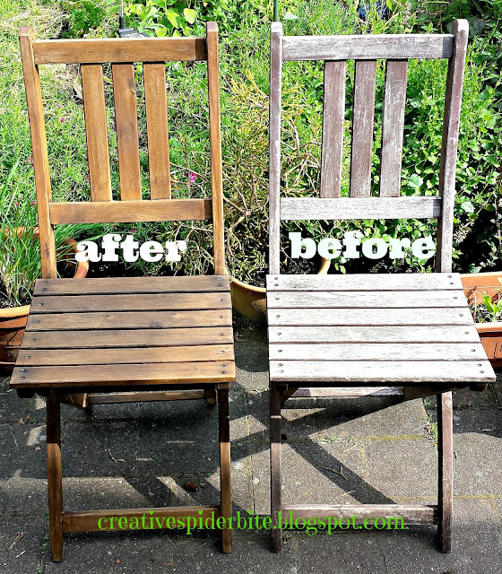 picture of before and after of how to make any old cheap withered wooden chair look like an expensive teak wood chair