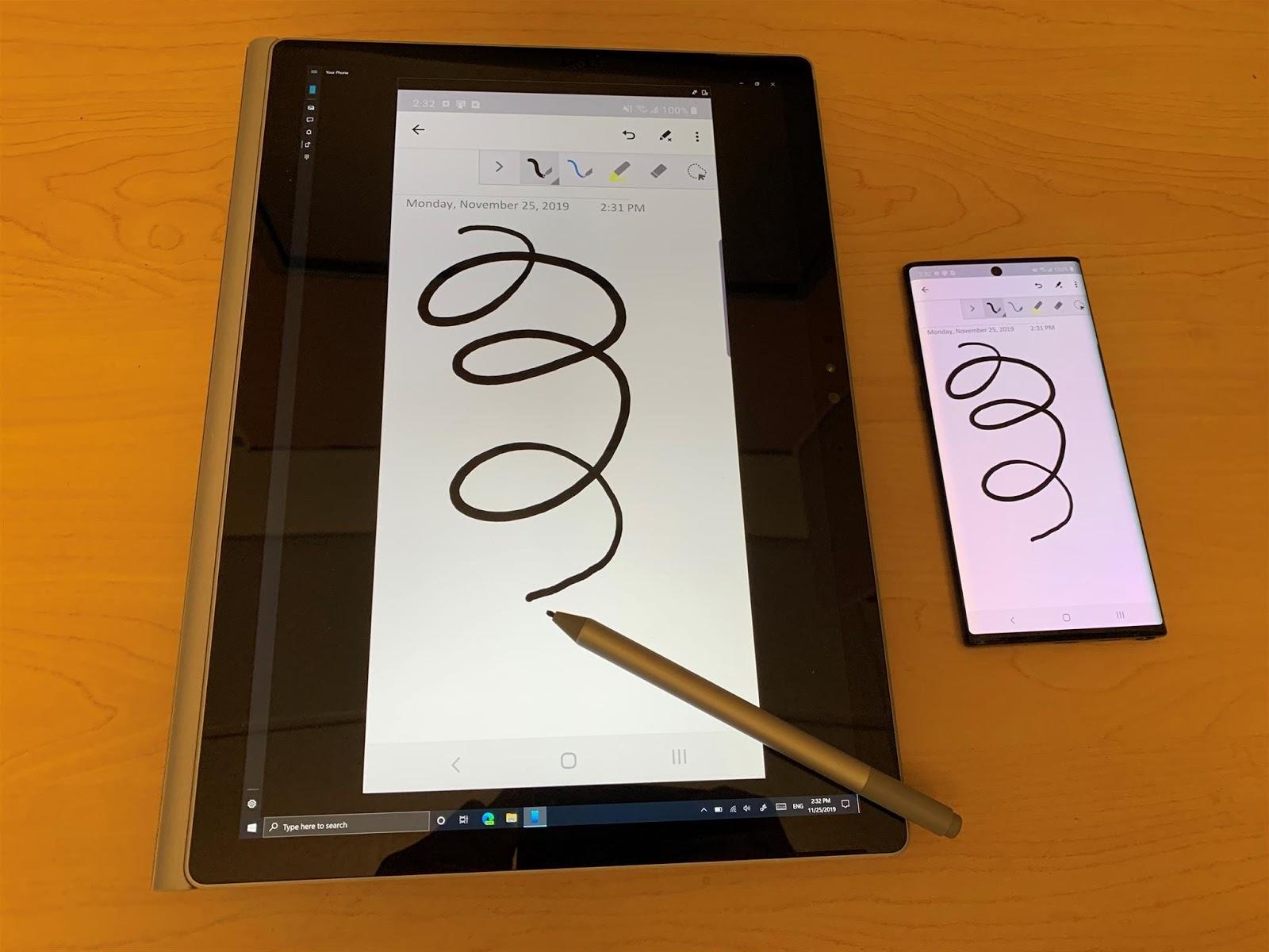 L'App Il tuo telefono supporta l'input di penna