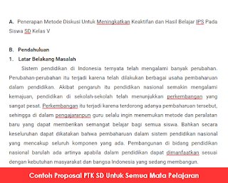 Contoh Proposal PTK SD