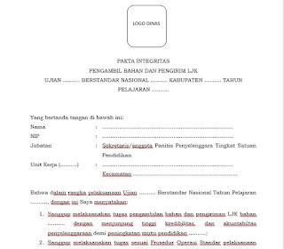 Pakta Integritas Panitia Pengawas Ujian Format Word