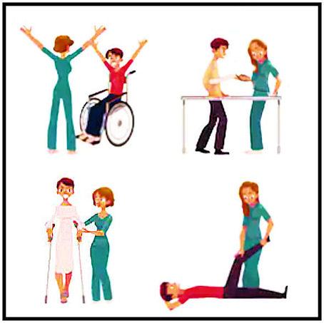 Kooste piirroskuvista, jossa lääkintävoimistelija avustaa potilaita erilaisissa ammattitehtävissä opastaen;.