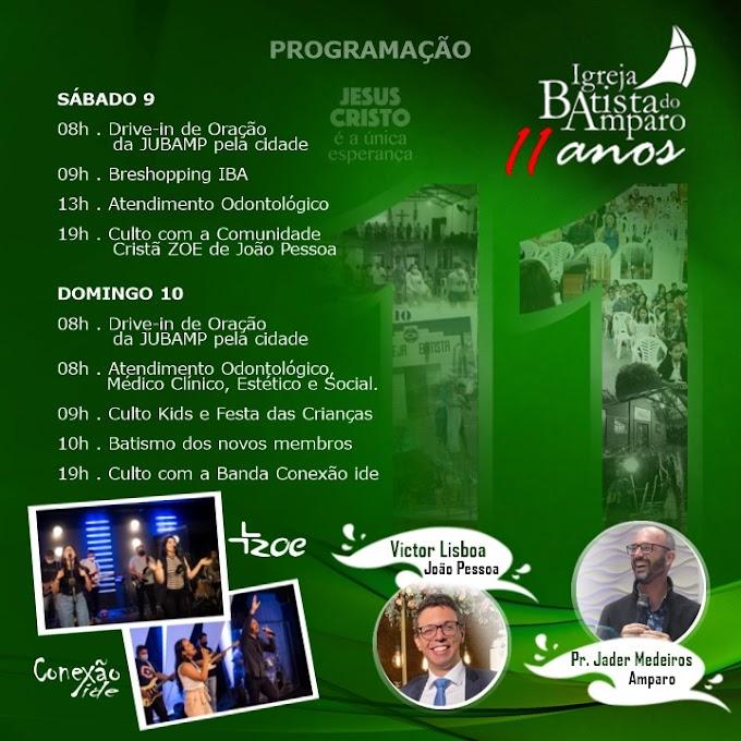 Igreja Batista Celebrará 11 anos em Amparo, confira a programação