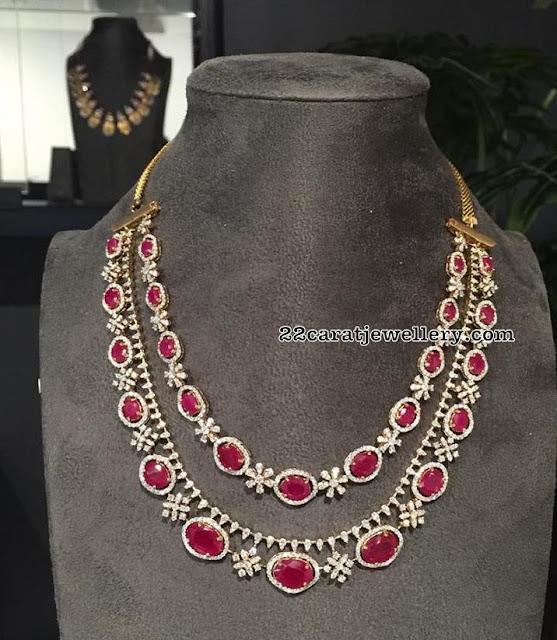 Diamond Layer Long Sets by Radhika Jewellers
