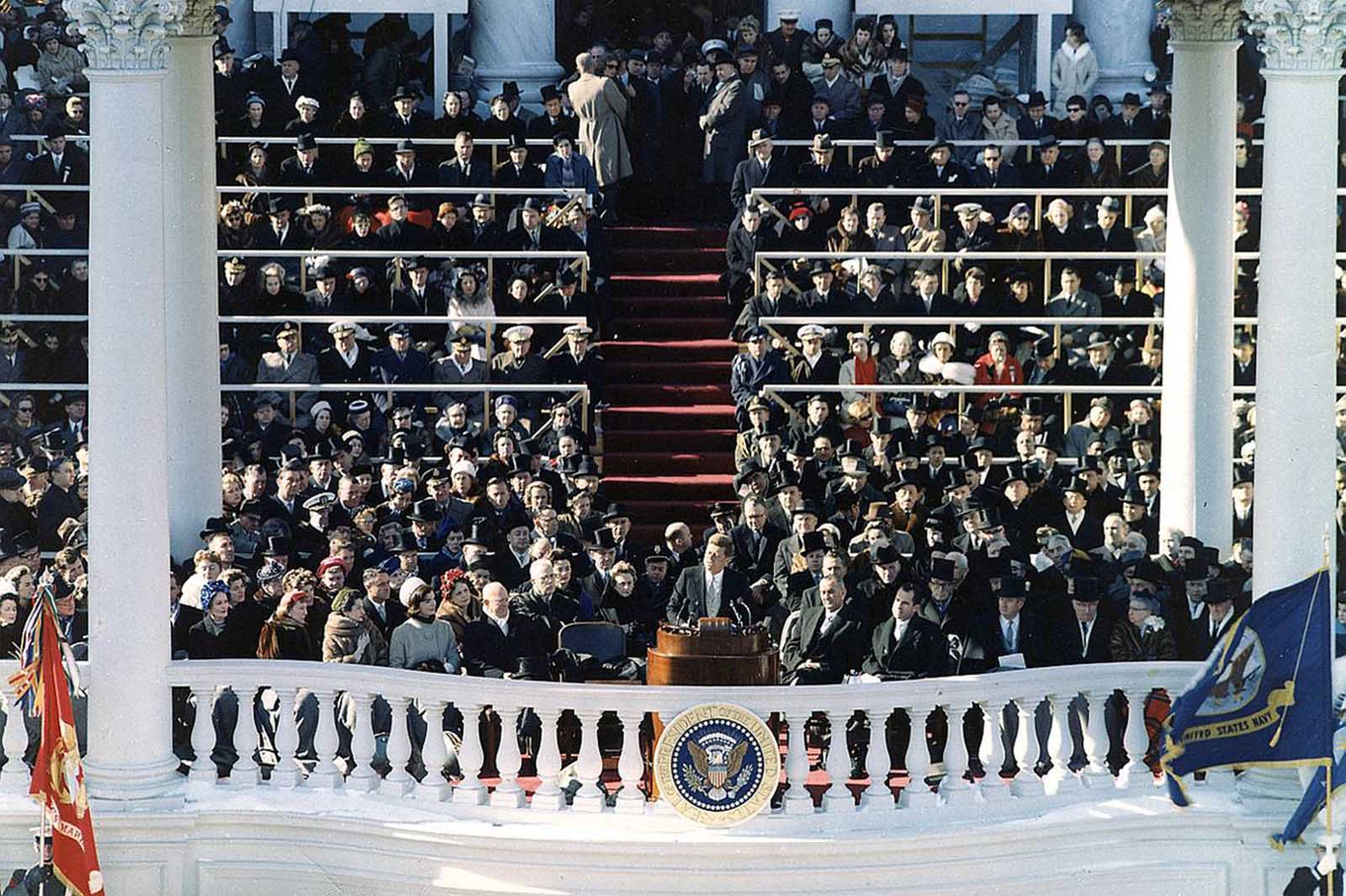 After winning the election in 1960, President John F. Kennedy, delivers his Inaugural Address in Washington, District of Columbia, on January 20, 1961.
