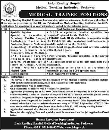 Lady Reading Hospital Medical Teaching Institutions 13 July 2019
