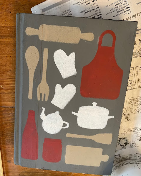 Photo of stenciled gray book