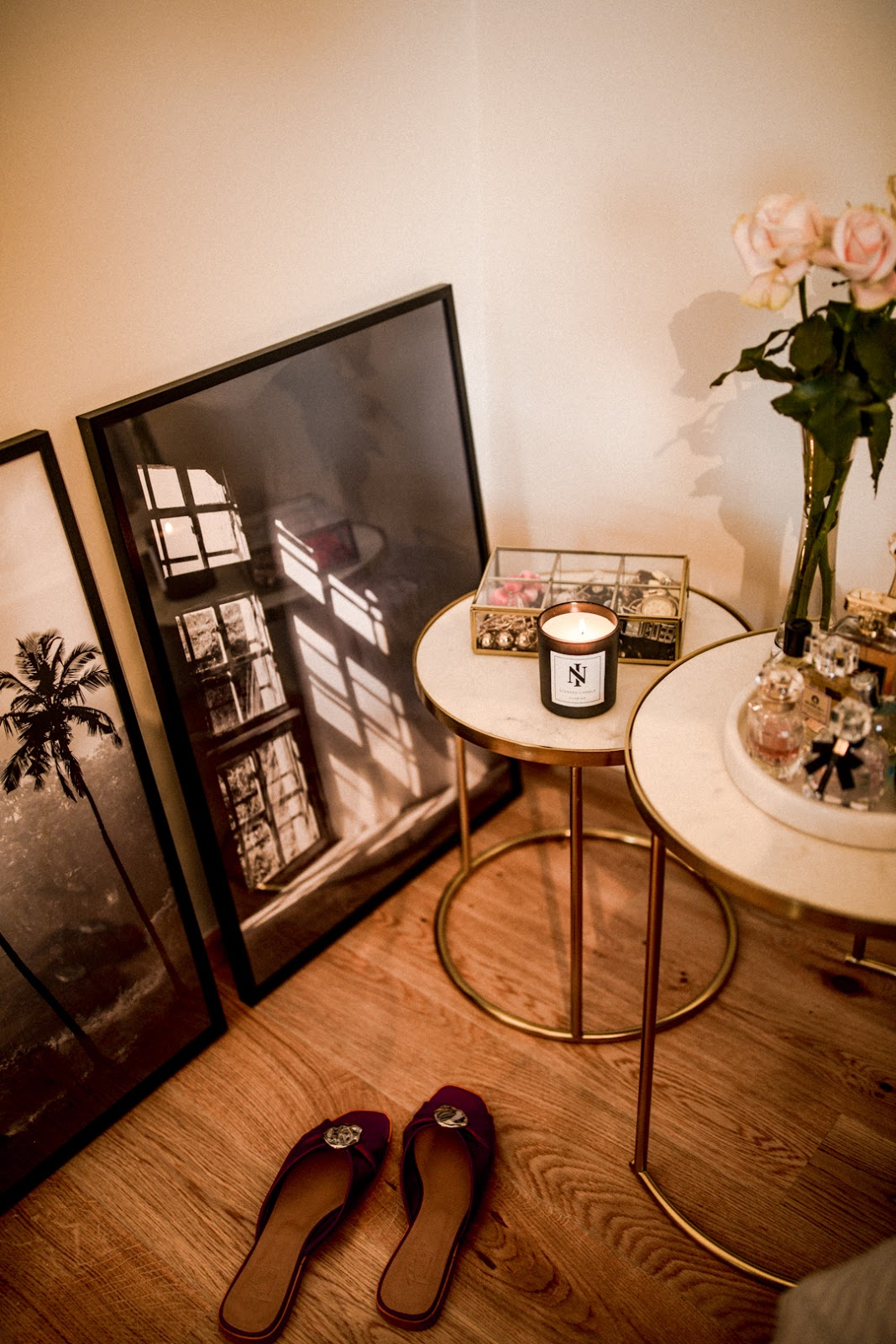 bedside tables flowers perfumes jewelry