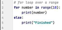 Else in for loop in Python