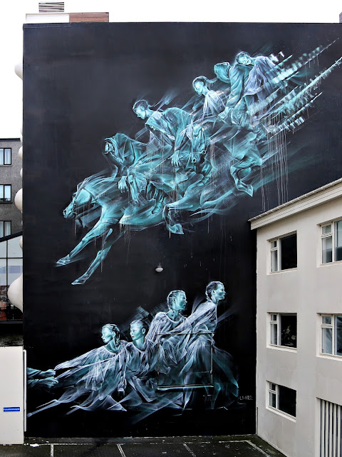Li-Hill's latest wall was done in Reykjavik on the old Iceland Opera building as part of Wall Poetry.