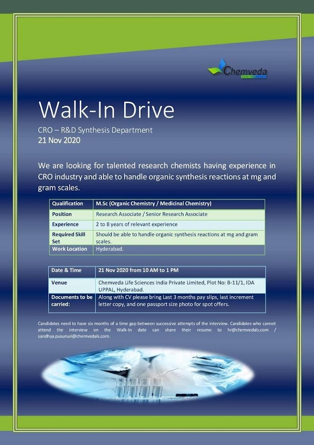 Chemveda Lifesciences | Walk-In Drive for CRO – R&D on 21st Nov' 2020 at Hyderabad