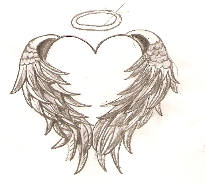 Free coloring pages of hearts with angel wings
