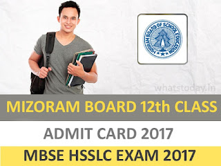 Mizoram HSSLC 12th Admit Card 2017, MBSE HSSLC Admit Card 2017