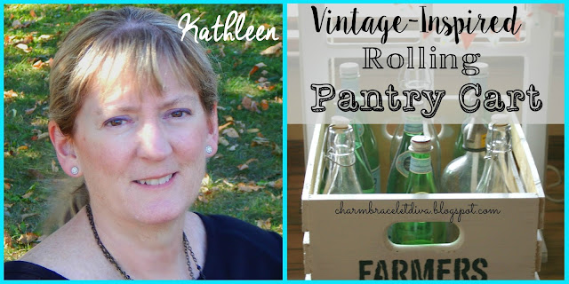 Vintage-inspired Rolling Pantry Cart via Vintage Charm Party#28