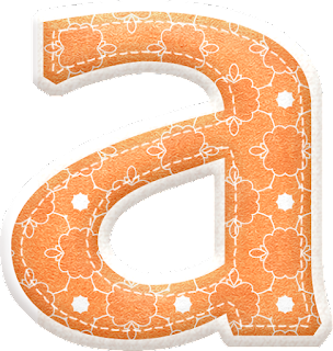 Alfabeto Naranja con Siluetas de Flores.