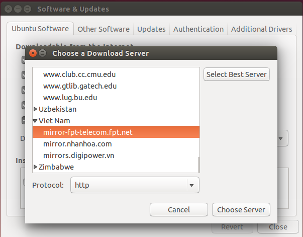 Choose server update Ubuntu