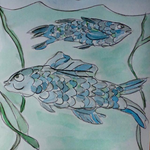 Fische, vorgezeichnet, coloriert
