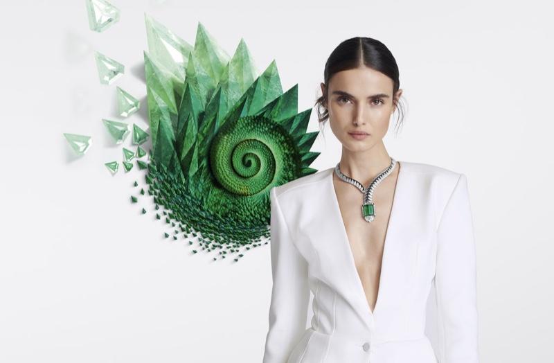 Blanca Padilla wears emeralds in Cartier [Sur]Naturel High Jewelry campaign.