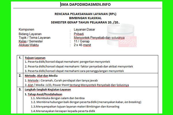 RPL BK SMA Kelas 11 Revisi Terbaru 1 Halaman Kurikulum 2013, Contoh Rencana Pelaksanaan Pelayanan BK Bimbingan Konseling Format 1 Lembar