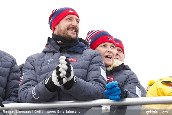 Crown Prince Haakon of Norway and Crown Princess Mette-Marit of Norway attend the FIS Nordic World Ski Championships