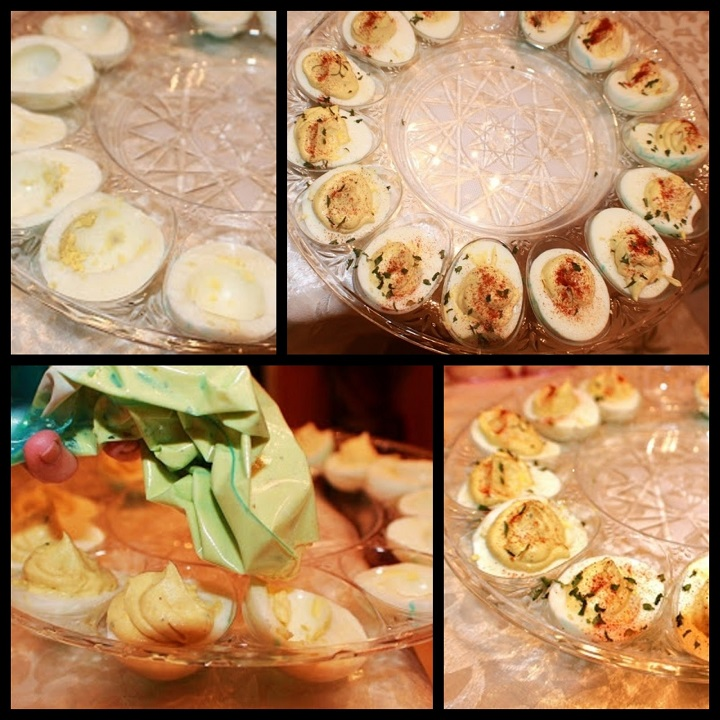 this is a collage on how to make deviled eggs