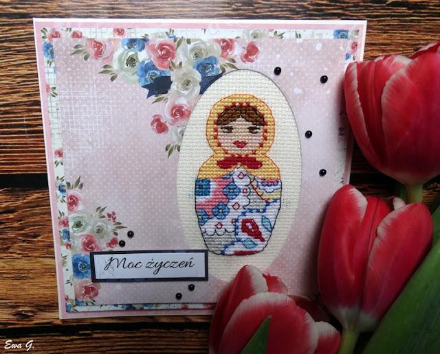 Imieniny miesiąca - kartka z matrioszką