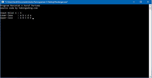 Program C Mencetak n Huruf Pertama Menggunakan kode ASCII