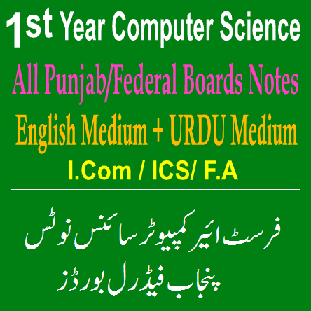 I.Com ICS Computer Science Notes In PDF Punjab Federal Boards