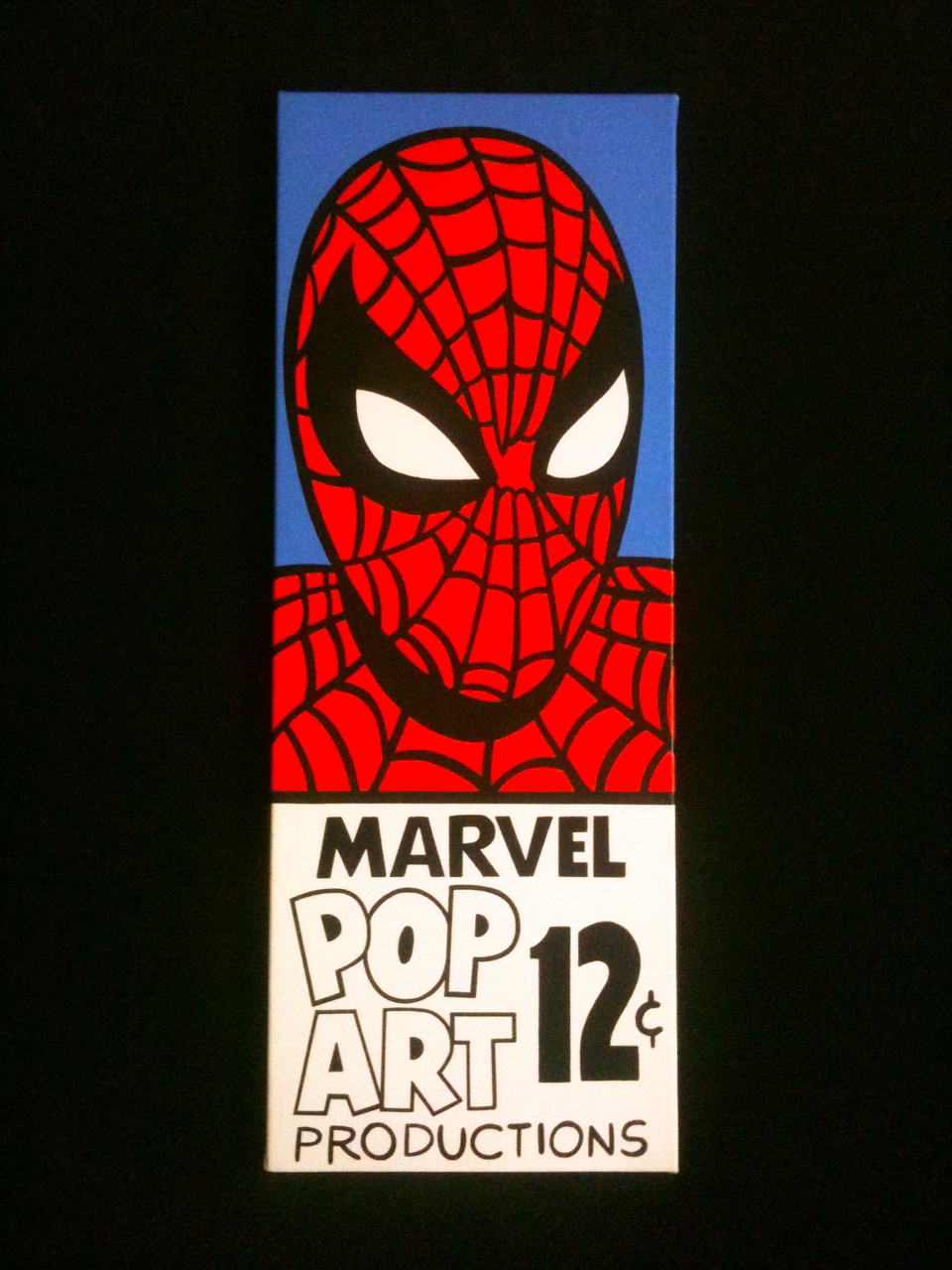 Spiderman cornerbox pop art 6x12 acrylic painting