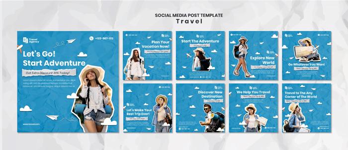 Traveling Social Media Posts MockUp
