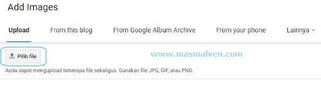 Upload file gambar di blog