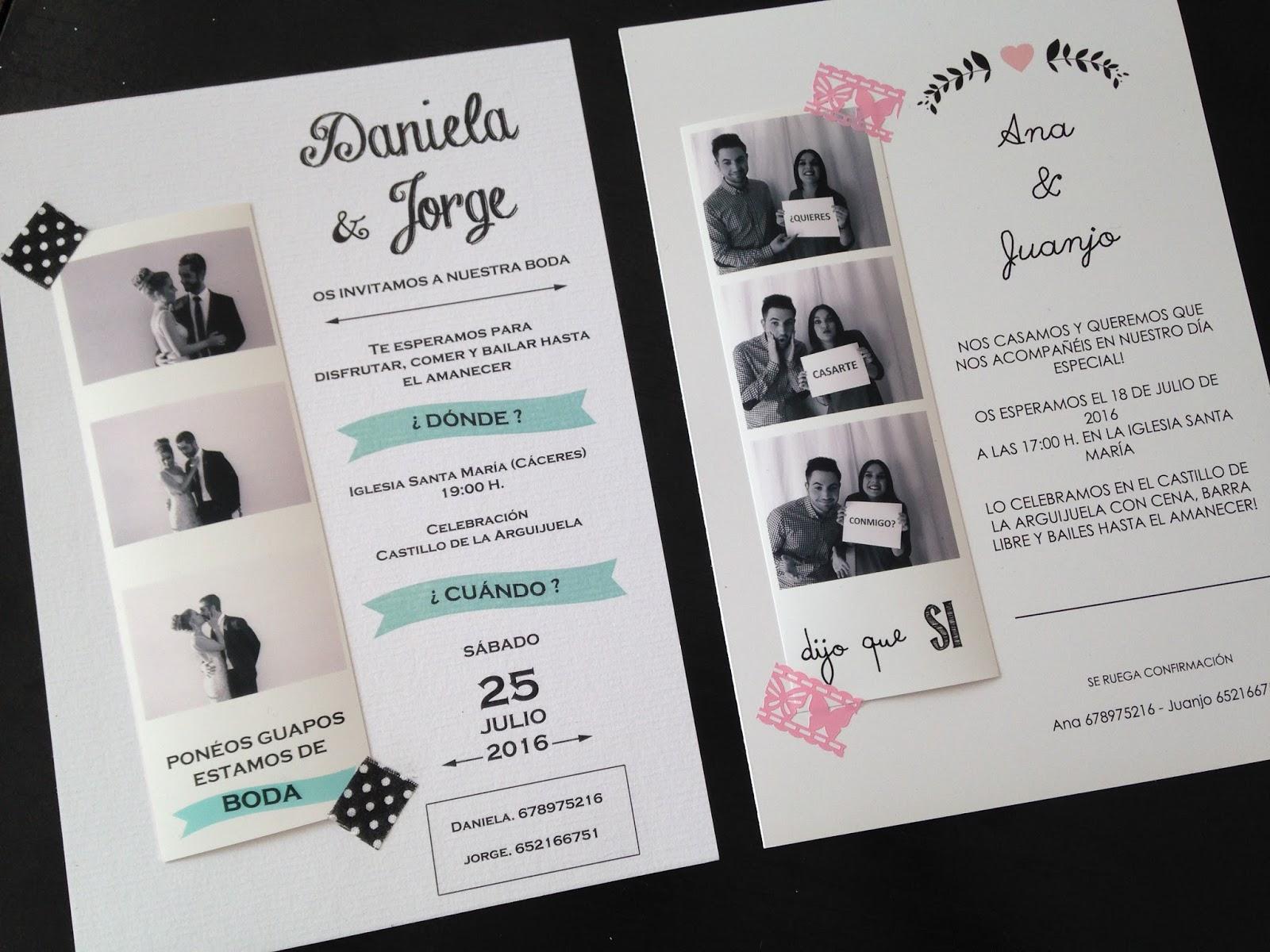 El taller de tut invitaciones de boda estilo fotomat n - Tarjetas de invitacion de boda originales ...