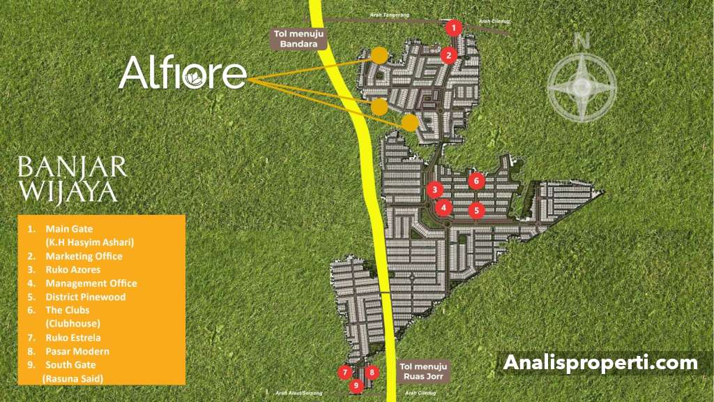 Lokasi Cluster Alfiore Banjar Wijaya