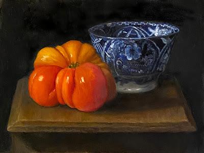 heirloom tomato, flow blue china, still life