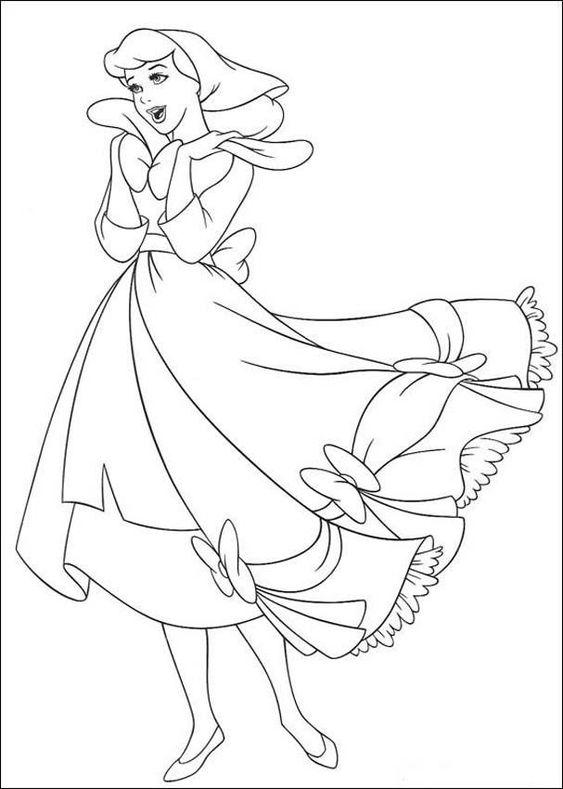 Hình tô màu công chúa lọ lem đáng yêu