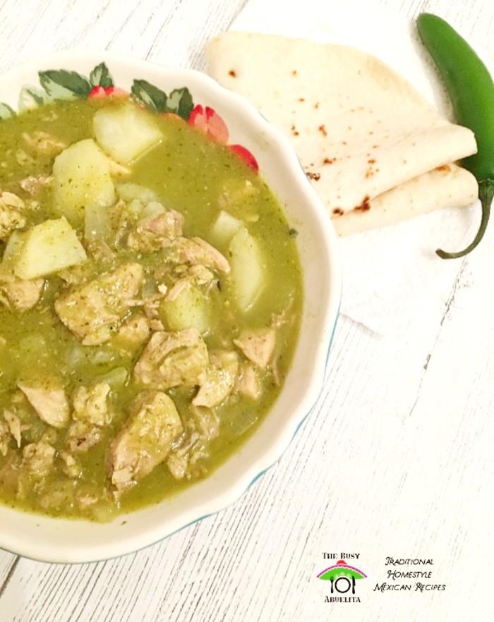 Green Chile Pork Stew in bowl