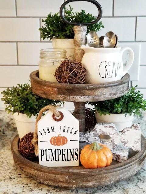 wood tiered tray with fall decor