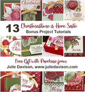 Special Offer: Get a PDF with 13 Bonus Project Tutorials for Stampin' Up! Christmastime is Here with purchase of Christmas Rose bundle or Christmastime is Here Suite from Julie Davison, www.juliedavison.com/shop #stampinup #christmastimeishere