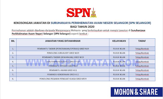 Jawatan Kosong di Suruhanjaya Perkhidmatan Avam Negeri Selangor (SPN Selangor).
