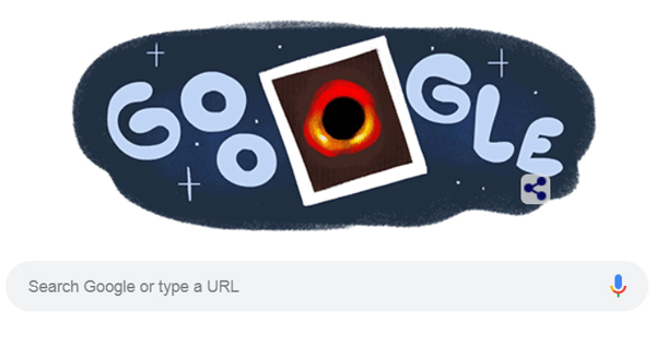 A 'Google doodle' that pays tribute to today's historic astrophysical announcement.