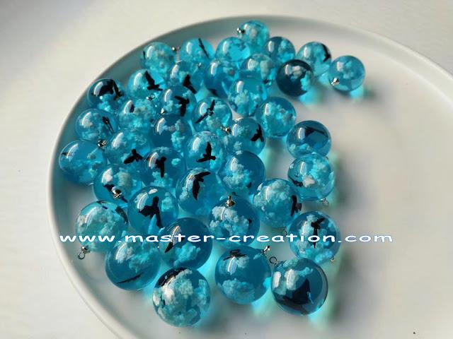 blue crystal balls pendant