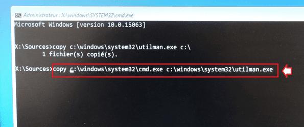 copy c:\windows\system32\cmd.exe c:\windows\system32\utilman.exe